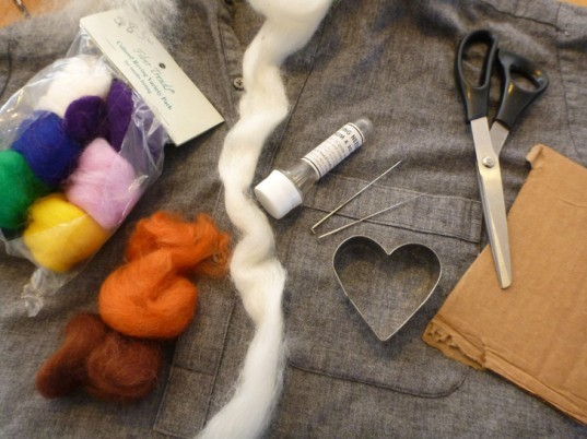 needle felting supplies, felting needles, roving, wool