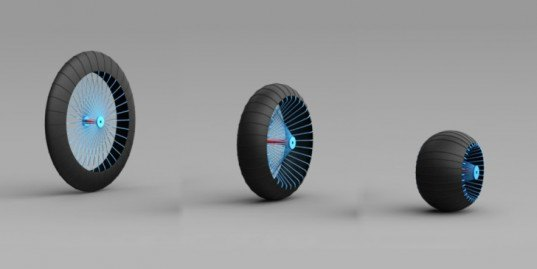 Roadless Wheel, transforming wheel conditions, Ackeem Ngwenya, RCA London, green transportation, wheel designs, morphing wheels, green design, student design wheel, automotive design