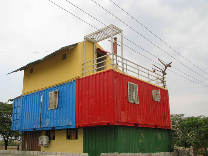 shipping container home in bangalore left side elevation inhabitat green design innovation architecture green building