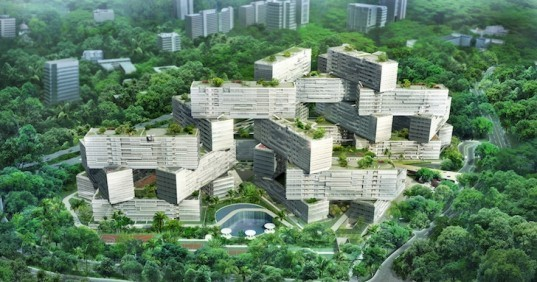 OMA, The interlace, singapore, Ole Scheeren, greenbelt, micro climate, interconnectivity, sustainability, luxury apartments, residential complex, singapore apartments