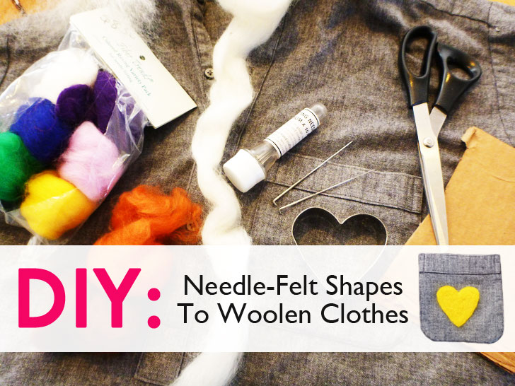 DIY: Add a Pop of Color to Your Winter Wardrobe—Learn How to Needle-Felt Shapes to Woolen Clothes