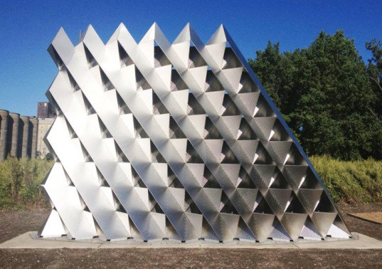 University of Buffalo wall, University of Buffalo architects, 3xLP wall, TEX-FAB, TEX-FAB competition, Silo City's Gateway Wall, SKIN International Digital Fabrication Competition, building skins, wall prototype, steel wall design, Rigidized Metals Corporation, facade design competition