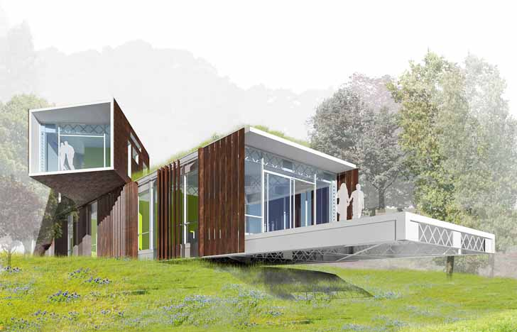 """Architecture House Competition hanging house"""" made from bay bridge scraps wins prestigious"""