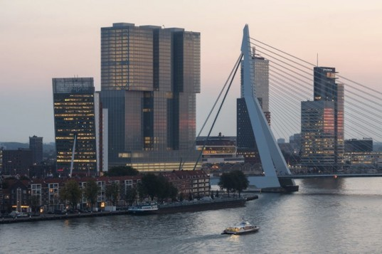 oma, rem koolhaas, de rotterdam, vertical city, erasmus bridge, Wilhemina Pier, mixed use building, mullions, multipurpose building, Rotterdam skyline, floor to ceiling windows, rotterdam economic revival