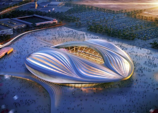 architecture and engineering firm AECOM, engineered timber, temporary seating, fishing port 15km south of Doha, 40,000-seat venue in Qatar, Zaha Hadid Architects, Qatar 2022 FIFA World Cup Stadium, Passive Cooling System, Al Wakrah,