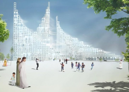 Souk Mirage, Particles of Light, Waterfront Complex, Sou Fujimoto, Doha, Qatar, Outlook Tower, Modular Tower, Modular Arches, Indoor Waterfalls, Cooling Mists,