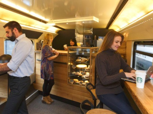 Starbucks, Swiss Train, railroad, train, mobile coffee shop, green transportation, sbb, switzerland