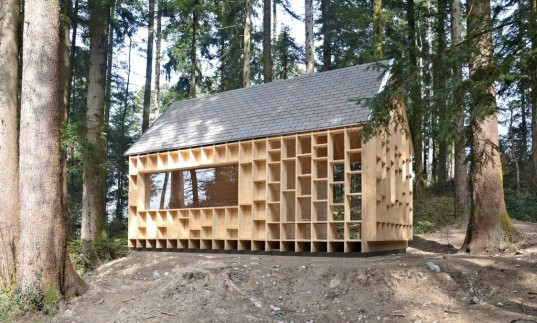 Bernd Riegger, house of the forest owls, arcitecture, cabins, wolfort, austria