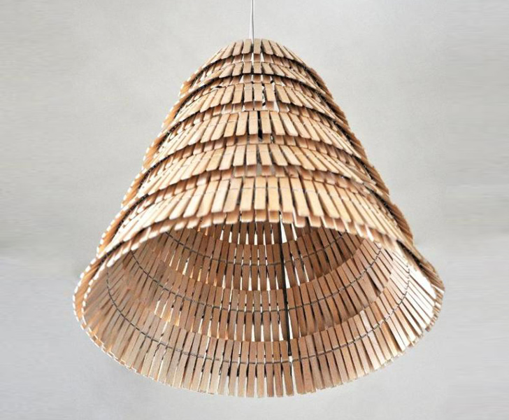 Crea Re Studio Creates Beautiful Hanging Lamps From Wooden Clothespins