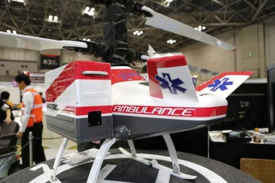 hirobo, hx-1, unmanned helicopter, electric helicopter, ambulance, rescue, japan