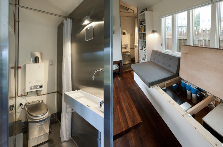 Tiny House Interior Bathroom 210 sq ft minim house shelters sweet space-saving interior with