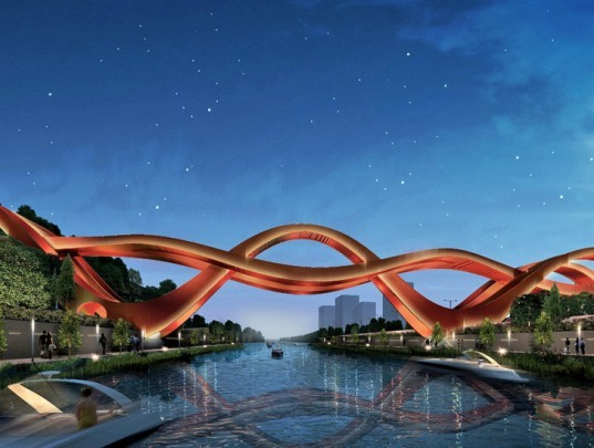 pedestrian friendly, pedestrian bridge, bridge, meixi lake district, meixi lake, next architects, changsha, china, mobius strip, mobius bridge, chinese knot, green design, green transportation, green building, green architecture, sustainable building, sustainable design, sustainable architecture, eco design