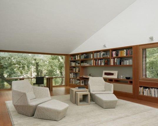 Andrew Berman Architect, writing studio, studio in Bellport, NY, library in the woods, private library, forest structures, copper exterior