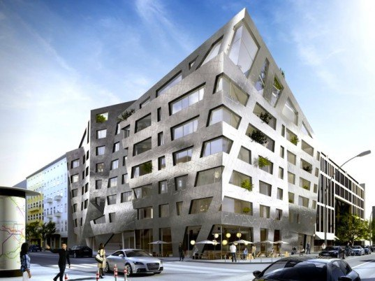 Daniel Libeskind, Berlin, Chausseestrasse 43, mixed use, ceramic panels, apartment complex, Chausseestrasse, air purification, self-cleaning facade