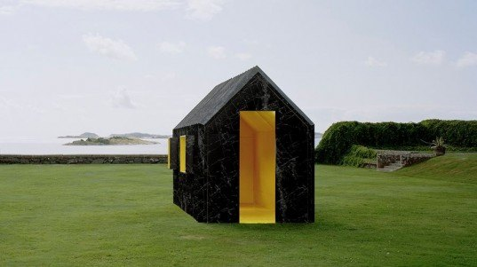 Chameleon Cabin, Mattias Lind, White Arkitekter, Happy F + B, Göteborgstryckeriet, paper houses, paper cabin, color changing house, corrugated design, paper architecture, temporary architecture