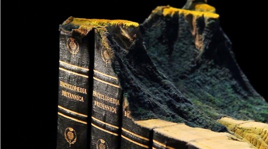Guy Laramée, Guy Laramée art, book landscapes, book sculptures, book carvings, Encyclopedia Britannica, book art, recycled materials, mountains books, books landscapes