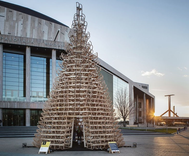 Spectacular Budapest Christmas Tree Is Made Of 365 Sleighs