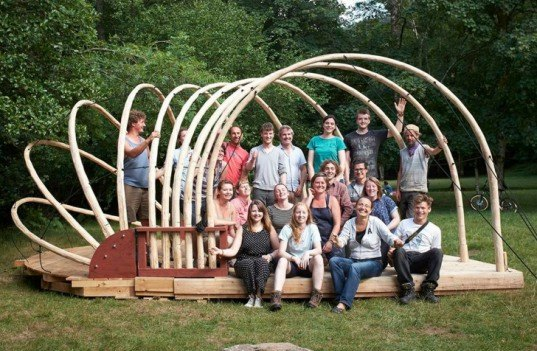 Jerry Tate Architects, Dartmoor Arts Week, Dartmoor Arts Project, demountable pavilion, locally sourced wood, wooden pavilion, treehouse design, shell-like pavilions, student design, London architects