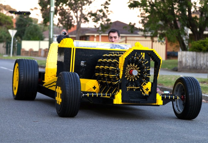 Life-size hot rod made entirely from LEGO bricks runs on air!