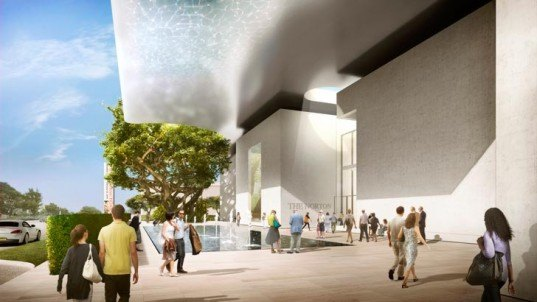 Norton Museum of Art, West Palm Beach, Foster + Partners, Lord Foster, Marion Sims Wyeth, shimmering metal roof canopy, transparent grand hall,