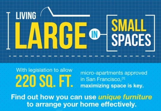 living large in small spaces, infographic, tiny homes, tiny apartment living, green design, sustainable design, green lifestyle, green building, tiny apartments, urban lifestyle, interior design, multi-functional furniture, storage