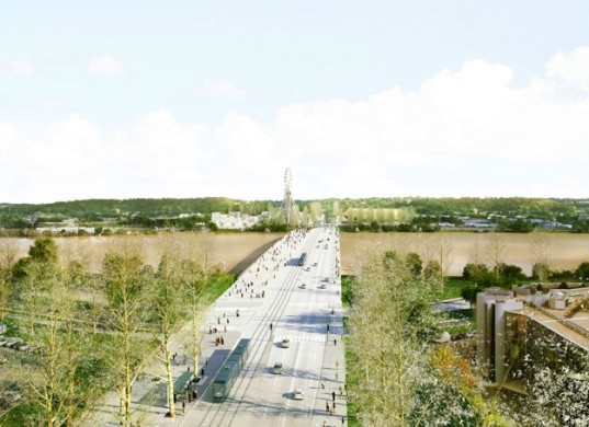 Rem Koolhaas, OMA, concept bridge, Pont Jean-Jacques Bosc, France, Bordeaux, Architecture, social design, competition winner, bridge for events,