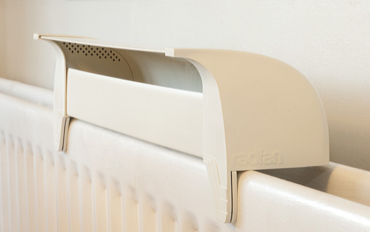 The Radfan Radiator Attchment Helps Distribute Heat Efficiently Through a Room