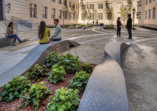 Cliff Garten Studio, General Services Administration, San Francisco, landscape sculpture, landscape architecture, LEED gold, arthus brown, beaux arts, concrete paving, concrete ribbons, drip irrigation, granite fountains