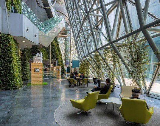 lush curvaceous green wall grows in iarc architects 39 new seoul city hall. Black Bedroom Furniture Sets. Home Design Ideas