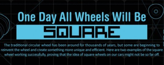 wheels, green design, sustainable design, square wheels, infographic, one day all wheels will be square, shark wheel, square wheeled bike, transportation, green transportation