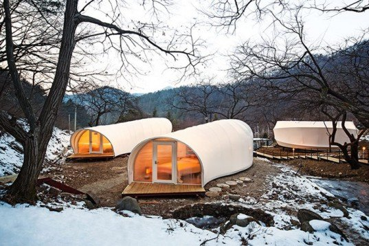 ArchiWorkshop's worms and donughts-shaped tents Glamping For Glampers