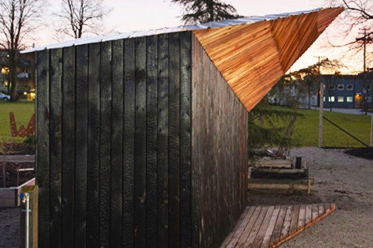 student builds oddly shaped community garden shed from charred cedar inhabitat green design innovation architecture green building