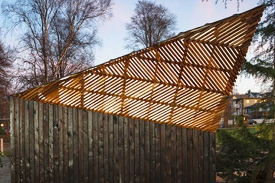 Brendan Callander, wooden shed, Woodlands Community Garden, Vancouver, charring, Shou Sugi Ban, burnt wood, lattice, Shou Sugi Ban, Air quality, Architecture, Green Materials, Daylighting,