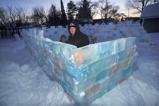 Colorful Ice Fort, Chris Marchand, ice fort, ice sculpture, winter sculpture, ice blocks,
