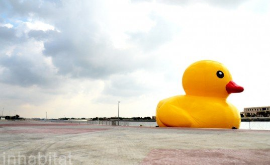 fake rubber duck, giant rubber duck, pirated rubber duck, cheap duck from China, stolen art, Abu Dhabi Sustainability Week, ADNEC, Abu Dhabi, oversized art projects, Florentijn Hofman, Reed Exhibitions, GeoWash fake duck in Dubai, copyright infringement, stolen art