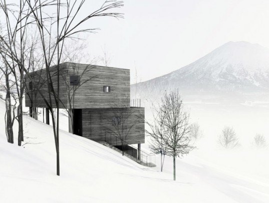 mount yotei, florian busch architects, l house, niseko, hokkaido, escarpment, retaining walls, panoramic views, cantilevered stairs, holiday home