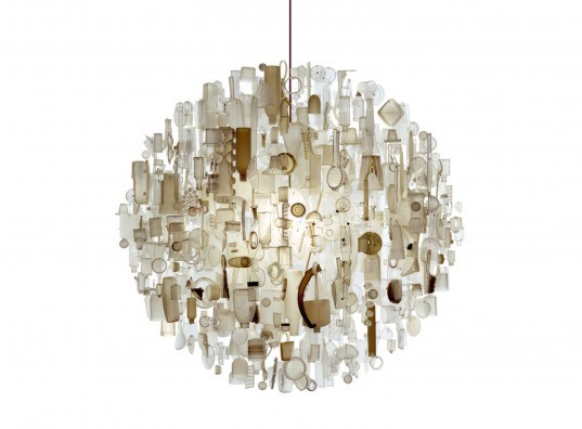 Stuart Haygarth, chandelier, recycled, upcycled, lighting, Carpenters Workshop Gallery, glasses, eyeglass lens