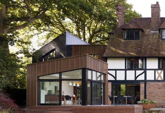 jerry tate architects, edwardian house renovation, hollin house, modern addition to historic home, daylighting, wood panel cladding, triple-pane windows, Hajom windows, energy efficient heating system, underfloor heating, monitoring energy consumption