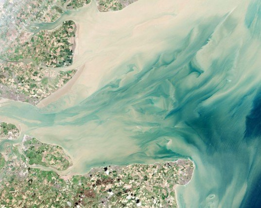 green design, eco design, sustainable design, London Array, off shore wind farm, NASA Earth Observatory, England from space