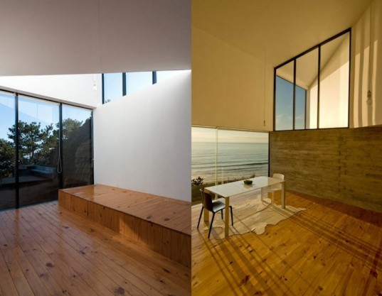 Panorama Arquitectos, D House, South Pacific Ocean, panoramic views, oceanfront house, minimalist architecture, wooden planks, wood-clad home, outdoor terraces, chile, Matanzas