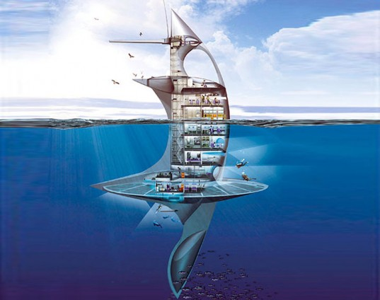 SeaOrbiter, SeaOrbiter marine vessel, Jacques Rougerie, marine architecture, marine research, floating research center, green technology, solar power, wave power, ocean research, futuristic ship design