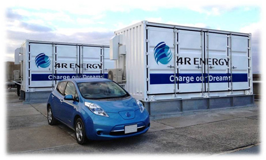smoothing effect of energy output fluctuation, reused EV batteries, recycled EV batteries, Ministry of the Environment of Japan, Hikari-no-mori solar farm, Norihiko Nonaka, nissan leaf electric vehicle, large-scale EV battery power storage system, Sumimoto Corporation,
