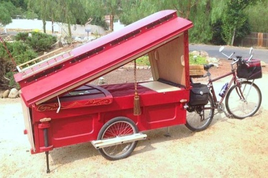 Barry Howard, architecture, tiny homes,micro wagon, bicycle micro gypsy wagon, sustainable materials, bicycle wagon, green transporation, traveling artist, little red artist's wagon