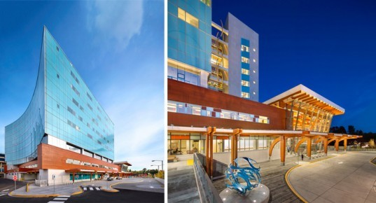 CEI Architecture, British Columbia, Surrey Memorial Hospital, Critical Care Tower, Parkin Architects, healthcare, LEED, bicycle parking, stormwater, irrigation, landscape, LEED Gold, hospital, Canada, wood, energy efficient, daylighting