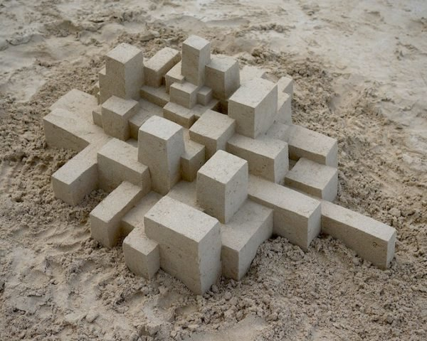 calvin seibert, sandcastle, sand sculpture, brutalist architecture, sand art, beach art, sculptor, sand sculpting, sand city, geometric sandcastle, angular sandcastle