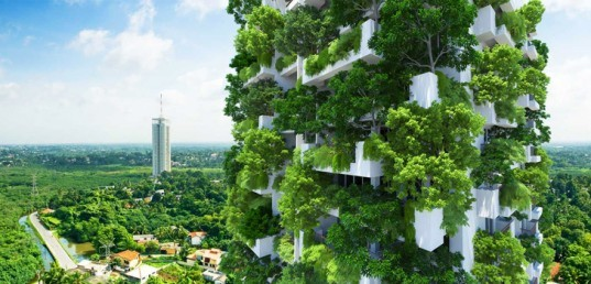 Clearpoint Tower, Milroy Perera Associates, Sri Lanka architecture, vertical gardens, residential towers, world's tallest garden, natural ventilation, solar power, solar panels, Mäga Engineering, drip irrigation, plant irrigation, reduced heat gain