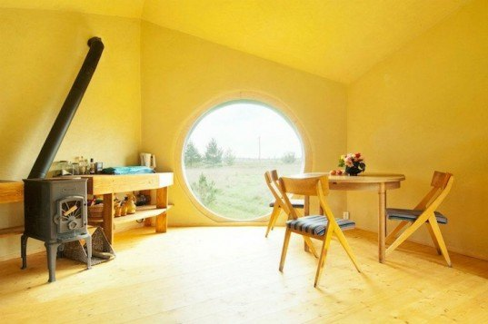 Noa, Jaanus Orgussar, prefabricated, tiny home, tiny cabin, wooden cabin, tiny wooden cabin, prefab cabin, rhombic dodecahedron, fish eye windows, katus, iron oxide, timber cabin