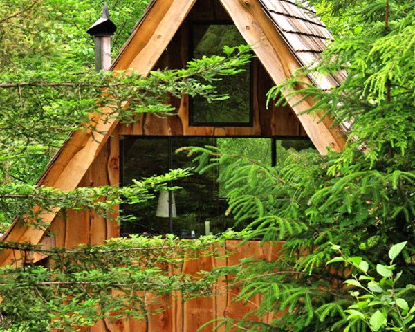 Brian Schulz, Japanese Forest House, tiny home, wooden shelter, woodland dwelling, Japanese inspired home, salvaged wood, Tiny Homes, Eco Travel, Recycled Materials, green Interiors,