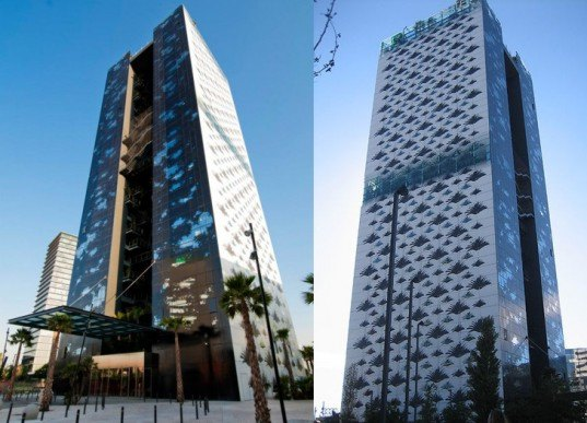 green design, eco design, sustainable design, Jean Nouvel, Ribas & Ribas, Marriot Renaissance Barcelona Fira Hotel, leaf shaped windows, barcelona hotels, atrium hotel, hotels with rooftop pools