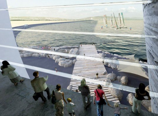 Juice Architects, Off-Shore Tidal Lagoon Visitors Centre, green architecture, sustainable architecture, green design, sustainable design, green building, energy-generating lagoon, renewable energy, oyster, oyster building
